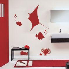 www.stickurz.com, Underwater scene, Fish, Ray, Crab, Sea Life, Sticker, Design, Decoration, Wall Decal, wall tattoo