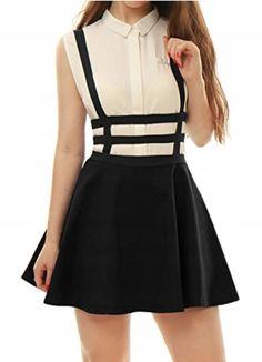 Unique Bargains Women's Fashion Zipper Back Elastic Waist Cut Out Design Suspender Skirt Black XS Girly Outfits, Cute Outfits, Fashion Outfits, Womens Fashion, Fashion Wear, Cute Skirts, Short Skirts, Rock Dress, Short Sexy