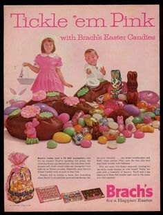 Brachs 1962 Easter bunny chocolate candy eggs vintage