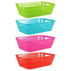Essentials Wide Rectangular Plastic-Weave Baskets with Handles Dollar Tree Organization, Diy Organisation, Storage Organization, Storage Ideas, Decorative Storage Bins, Storage Baskets, Plastic Baskets, Plastic Laundry Basket, Beach Gear