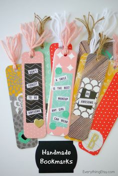 Handmade Bookmarks - Back-to-school DIY! These would be perfect stocking…