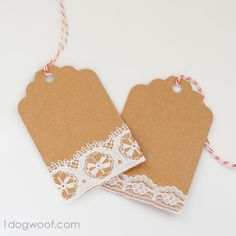 I had a bunch of vintage lace I picked up at an estate sale last year, and I used them to make these Lace Gift Tags!