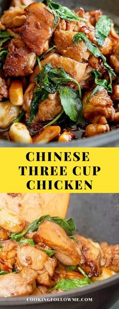 """The BEST Chinese Three Cup Chicken recipe ever! So flavorful, tender, and SO delicious. The """"Chinese Three Cup Chicken"""" in my heart represents the classic dishes of my hometown of Taiwan. Try my recipe TODAY, u will LOVE it Chinese Chicken Recipes, Easy Chinese Recipes, Asian Chicken, Healthy Chicken, Healthy Living Recipes, Vegetarian Recipes, Cooking Recipes, Chinese Food Culture, Three Cup Chicken"""