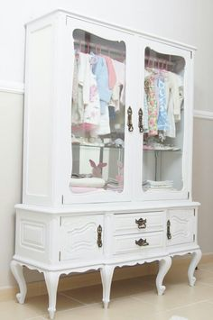 Old China cabinet made into child closet;)