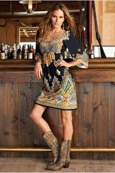 Boston Proper Paisley boho dress and cowboy boots. Boho Dress, Knit Dress, Dress Outfits, Girl Outfits, Rodeo Outfits, Country Outfits, Western Outfits, Pretty Outfits, Cute Outfits