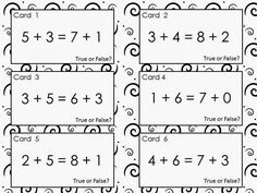 48 Free True or False Equation Cards ~ Addition within Includes everything you need for 2 different Scoot games, partner work and/or sorting activities. Designed to help kids become fluent with math facts while also developing problem solving skills. First Grade Addition, Math Addition, Second Grade Math, Addition And Subtraction, Addition Games, Subtraction Activities, Math Activities, Numeracy, Math Worksheets