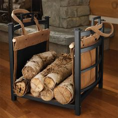 "A handsome and practical way to haul and stock wood for your hearth. This ingenious design features a rich suede carrier with polycanvas lining to carry your wood. Simply fill the carrier and tote it to the sturdy steel bin. Carrier handles slip over the holder handles to keep wood neatly stacked and contained. <br />15""H x 16""W x 14""D. Imported."