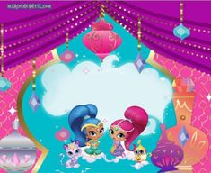 Cartel Shimmer and Shine Baby Mickey Mouse Cake, Shimmer And Shine Characters, Shimmer Y Shine, Arabian Nights Party, Birthday Party Invitations Free, 4th Birthday Parties, Paint Party, Shinee, Rose