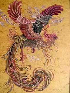 Reza Badrossama نقاشی رضا بدرالسما سیمرغ ققنوس phoenix foenix آبرنگ و گواش Water Color& Gouach Phoenix Painting, Phoenix Art, Mythical Birds, Mythical Creatures, Phoenix Dragon, Art Chinois, What Kind Of Dog, Illustration Vector, Iranian Art