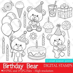Birthay Bear Digital Stamps Clipart by pixelpaperprints on Etsy