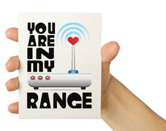math valentine greeting cards   Nerd Love Card - You are in my range 5 x 7 Greeting Card - Computer ...