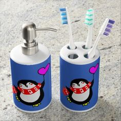 Cute Cartoon Penguin and Balloon Soap Dispenser And Toothbrush Holder  $25.65  by PugWiggles  - custom gift idea