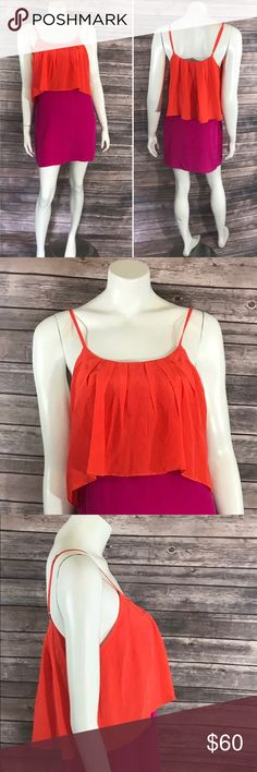 Greylin AnthropologIe Dress Sm Purple Orange Silk Greylin AnthropologIe Dress Sm Purple Orange Silk Sleeveless Color Block Layered. Measurements: (in inches) Underarm to underarm: 17.5 Length: 31 Waist: 35  Good, gently used condition Anthropologie Dresses Mini
