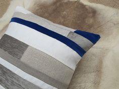 detail of igloo's electric blue velvet, chenille, European linen cushion cover.