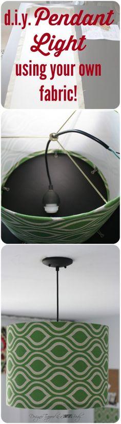 Tutorial para hacer una lampara con tu propia tela. Muy buen DIY!
