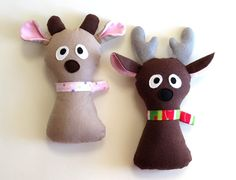 Sew a cute stuffed reindeer out of flannel with child safe, felt eyes. by MyFunnyBuddy