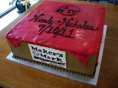 Maker's Mark inspired cake. #MakersMarkCake #Aspoonfullasugar #Groomscakes
