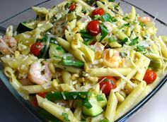 For the Love of Cooking   PENNE WITH SHRIMP AND ROASTED VEGETABLES IN A ROASTED GARLIC LEMON SAUCE