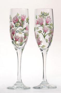 Pink Rosebud Champagne Flutes (Set of 2)