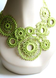 Spring Green Crocheted Beaded Necklace Featured in Vogueknitting Crochet 2012 Special Collector's Issue
