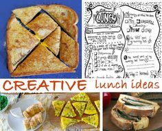 Creative lunch ideas - lots of them!!!  Love this list, they are all kid-friendly #yummy #menu #food