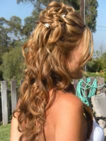 Half up curled hair style