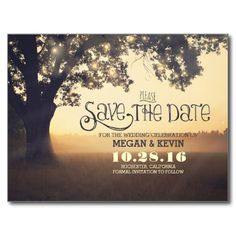 Special and unique save the date postcard with beautiful whimsical old tree decorated with string of lights. Dreamy vintage save the date perfect for rustic country wedding themes.
