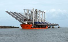 """Georgia Ports Authority container cranes being delivered by the heavy lift ship """"Swift"""" [1920  1200]"""
