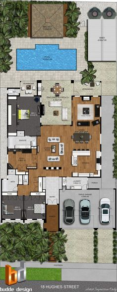 2D colour floor plan and 2D colour site plan - image used for real estate marketing - Victoria Australia  House plan includes 3 Bedroom, 2 bathroom, Study, Open plan living, Pool, Outdoor entertaining, triple garage, Bali Hut, Shed