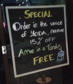 Geek Orders. Free if you arrive in a TARDIS
