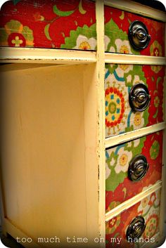 Decoupage Fabric Desk--for the entertainment center!