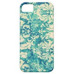 Vintage Blue and Green Damask Pattern Background Iphone 5 Cases from Zazzle.com on Wanelo