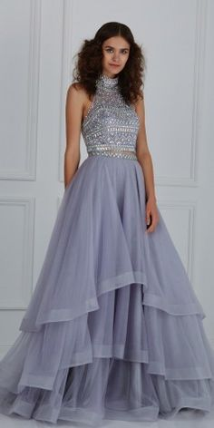 Long High Neck Ball #Gown #prom