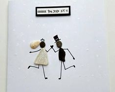Wedding Card, Pebble Art, beach theme card, stone art, pebble wedding card,can be personalised stick man, fun card