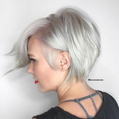 Side-Parted Silver Pixie
