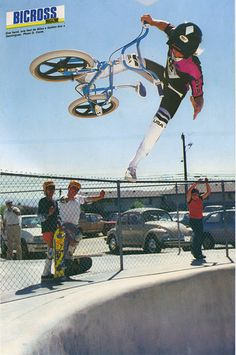 Mike Dominguez one hander/one footer out of a bowl in California on his Diamond Back signature freestyle bike, circa '86.