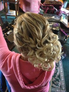 Bridal Hair by Michelle Surgent - www.idohairandmake-up.com. Bridesmaid updo french braid leading into a curly side bun. Follow us on instagram @pinkcombbeauty