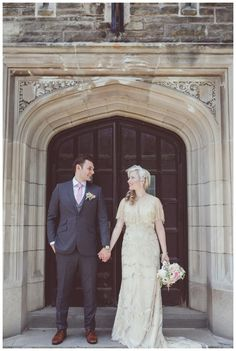 Bride and Groom at McMaster University. Great Gatsby themed wedding. Photo by…