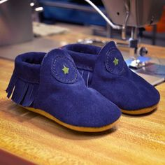Custom Shoe of the Week: Suede Navy Child Moccasins with Fringe. Custom Leather, Suede Leather, Soft Leather, Baby Moccasins, Walking Shoes, Custom Shoes, Design Your Own, Warm And Cozy, Comfortable Shoes