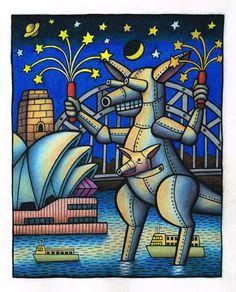 Mechangaroo Celebrates by Reg Mombassa. The original work was commissioned by the Sydney Moring Herald for the cover of Spectrum on Saturday December National Art School, Surf Design, Pin Up Art, Dog Art, Art Inspo, Illustrators, Graffiti, Street Art, Canvas Art