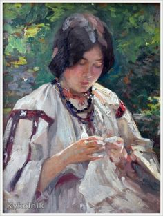 Peasant Woman Sewing Nicolae Vermont Romanian Read more HERE Sewing Art, Hand Sewing, Pc Image, Russian Painting, Lacemaking, Labor, Paintings I Love, Painting & Drawing, Character Inspiration