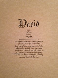 David First Name Meaning Art Print-Name by inspirationsbypam #etsyshop #handmade #etsyseller