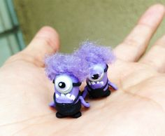 purple polymer clay minion earrings