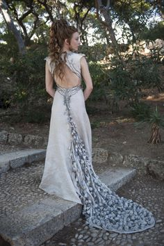 Game Of Thrones: season 4. Margaery Tyrell's (Natalie Dormer) Wedding gown for 'the purple wedding' of King Joffery. Designd by Michele Clapton.