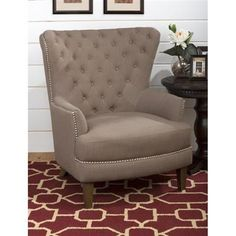 Conner Traditional Oversized Wing Back Accent Chair In Earth Fabric