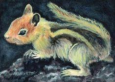 ACEO Original Painting Chipmunk animals wildlife rodent squirrel stripes #Impressionism