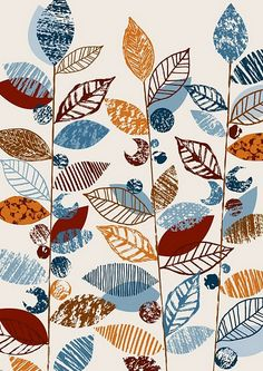 surface print and pattern design by Eloise Renouf - have each person make a different textured leaf stamp