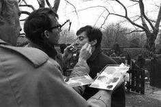 Dick Smith adjusting Pacino's makeup for THE GODFATHER.
