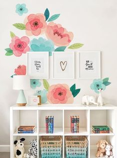 Kids Watercolor Flower Wall Sticker, Coral and Mint Blooms Wall Stickers - Peel and Stick Wall Stickers Kids Room Decor Kids Room Wall Stickers, Flower Wall Stickers, Girls Room Paint, Girls Bedroom Mural, Lego Bedroom, Childs Bedroom, Kid Bedrooms, Kids Watercolor, Kids Wall Decor