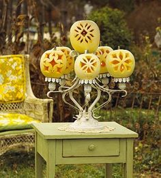 Carved Pumpkins Candelabra. Great for a Halloween Party.
